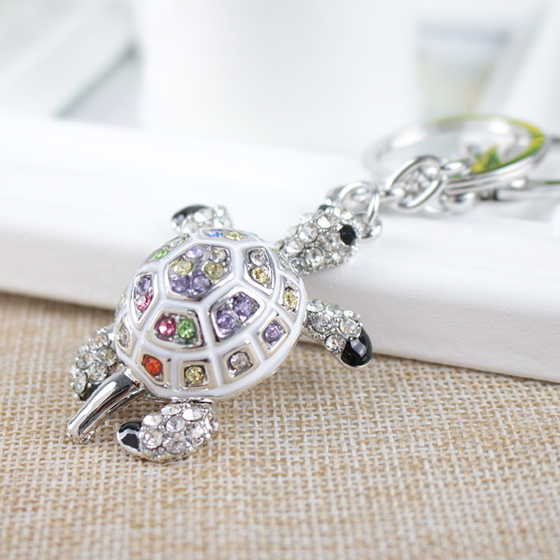 Keychains for Bags Lovers Gift Beautiful Rhinestone Tortoise Keychains Keyring Turtle Metal Crystal Key Ring Chains  bangle