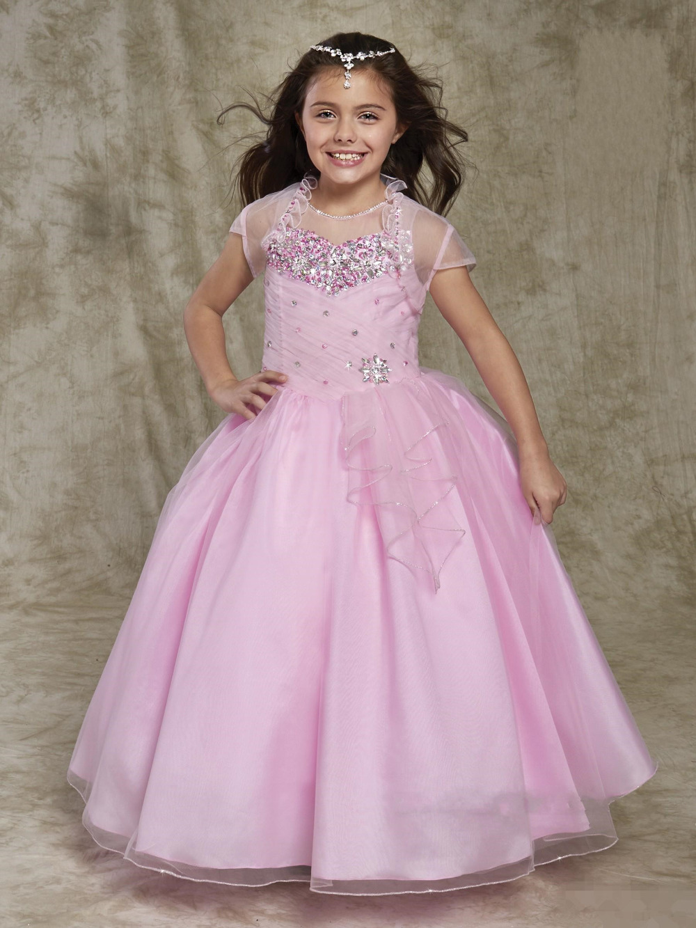 2016 New Organza Beaded Flower Girls Dress With Jacket First Communion Dresses A-Line Long Girls Pageant Dresses