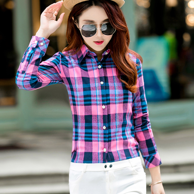 Women's   Blouse     Shirt   2018 Spring New Fashion College Style Casual Cool Student Plaid   Shirt   Long Sleeve Plus Size   Blouses   Chemise