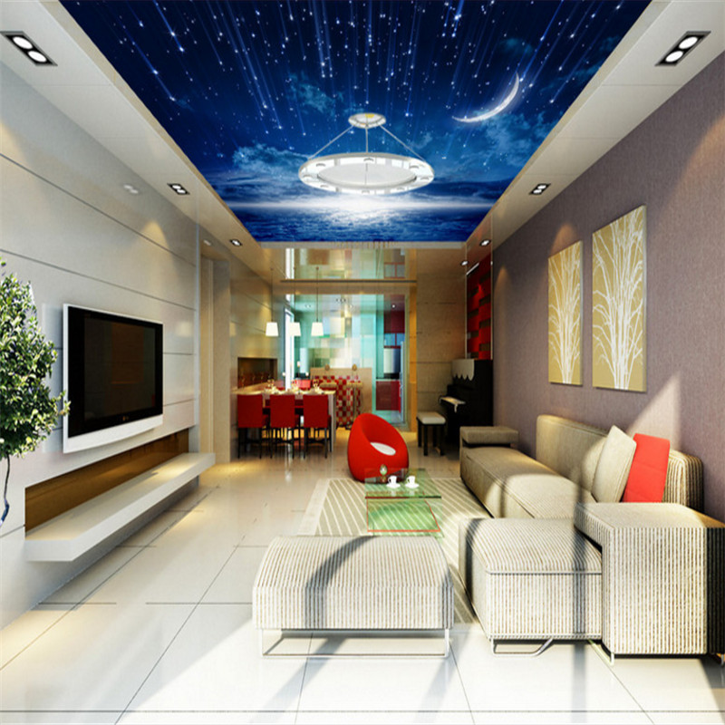 custom 3d landscape wallpaper wall murals for living room bedroom hotel background 3d ceiling wallpaper moon night sky mural 3d ceiling murals wallpaper aurora zenith living room ceiling mural custom photo murals wallpaper 3d ceiling
