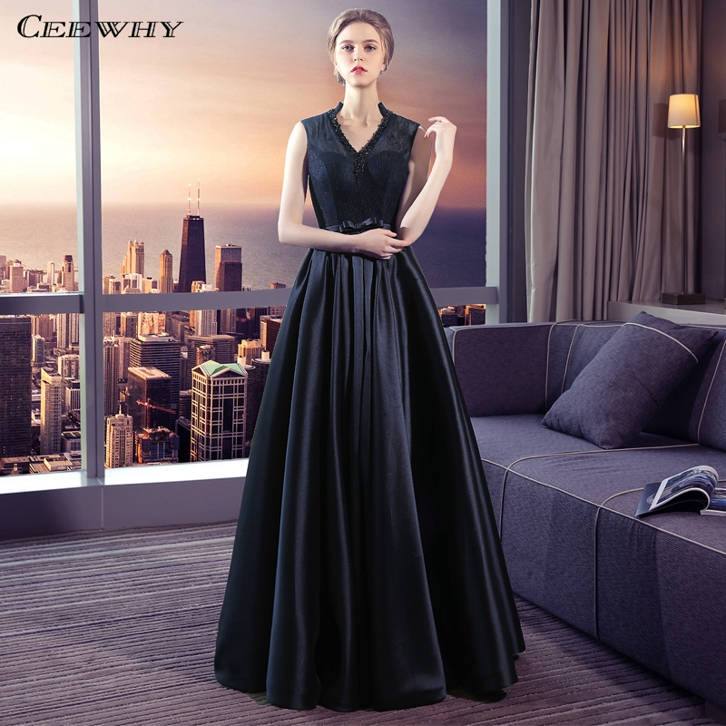 CEEWHY V-Neck Black Lace Custom Dress For Women Elegant Evening Gowns Vintage Beaded Evening Prom Dresses Robe de Soiree Longue
