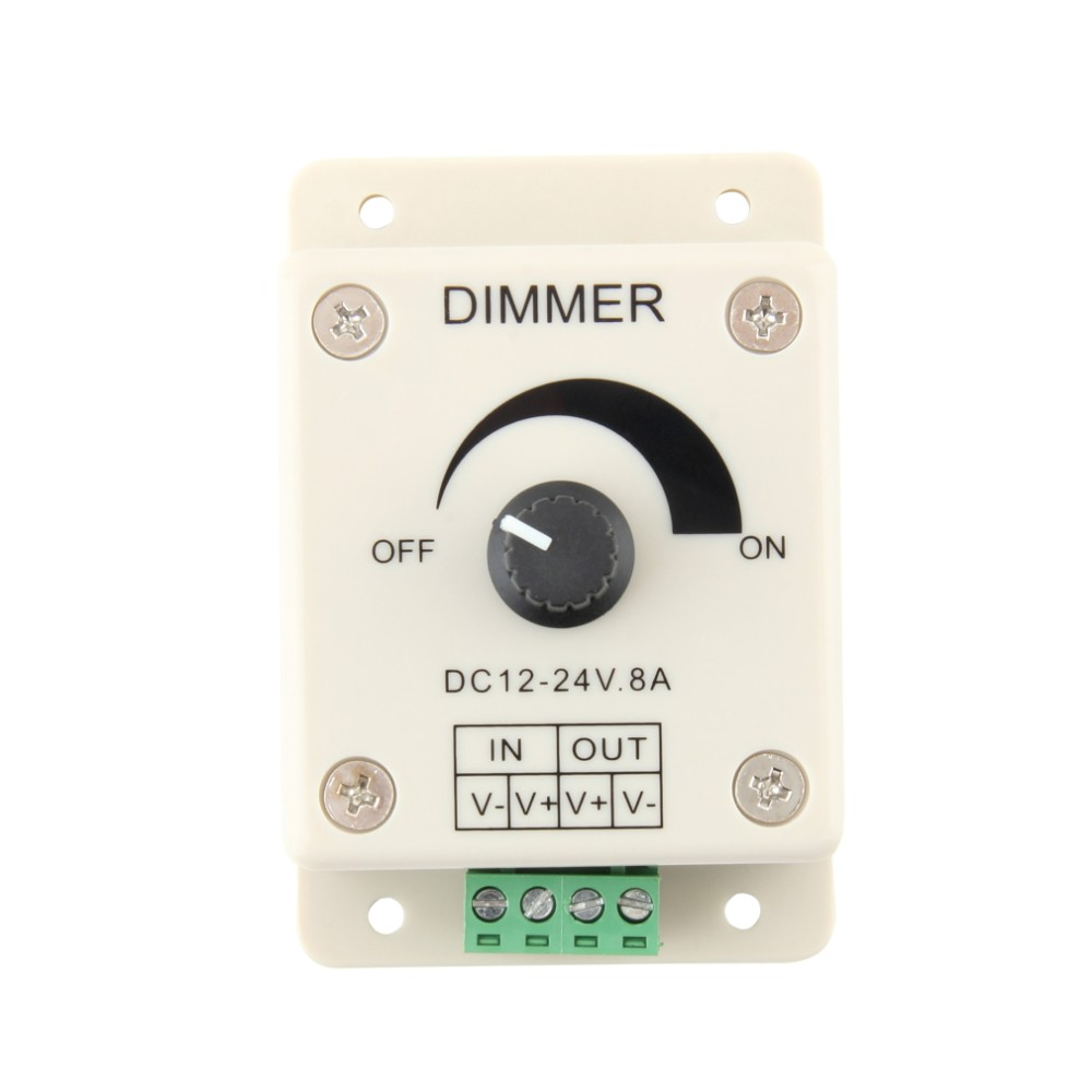 Dimmer 12v 24v 8a 0 100 Led Strip Ribbon Adjustable Brightness Controller Pwm Dimming