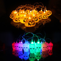 3 5M Hanging Halloween Pumpkin Lantern 3D Plastic Skull String Light 16 LED Orange Pumpkin Lights