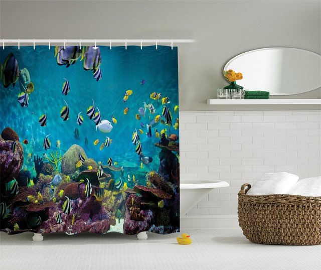 Untouched Wild Underwater Aquatic World With Corals Exotic Fishes Seascape Picture Polyester Fabric Bathroom Shower Curtain