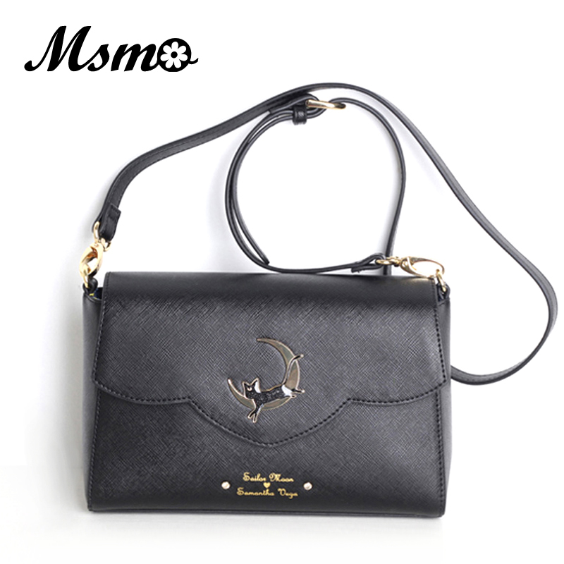 MSMO hot Sailor Moon Women Small PU Leather Messenger Bags Black Luna Cat Shape Shoulder Bag Crossbody Small Bag