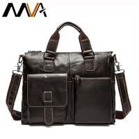 MVA Leather Laptop Bag 14inch Business Briefcase Handbags Totes Genuine Leather Shoulder Bags Work Document Bags