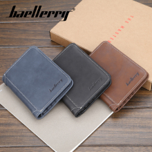 Baellerry Men 3 Color Vintage No Zipper Clip Wallet PU Leather Porta Mini Coin Pocket Card Photo Holder Solid Bag