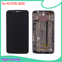 Hot Selling LCD Display With Frame For Alcatel 8020 Touch Screen Black Color 100 Guarantee Mobile