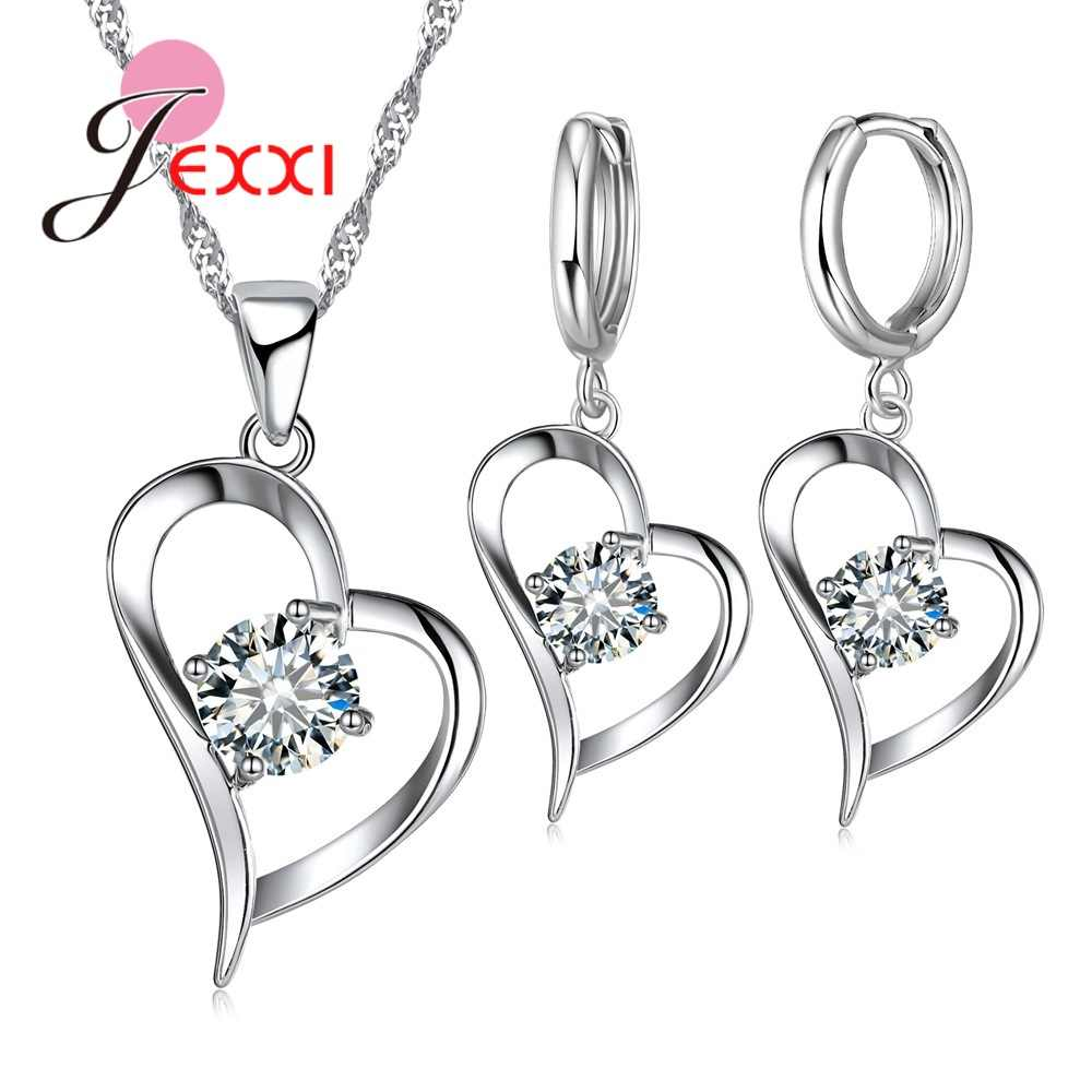 Heart 925 Sterling Silver Jewelry Sets For Women AAA CZ Stone Shiny Pendant Necklace Hoop Earrings For Female Wholesale