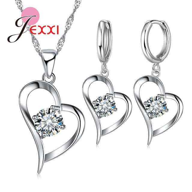 JEXXI Heart 925 Sterling Silver Jewelry Sets For Women AAA CZ Stone Shiny Pendant Necklace Hoop Earrings For Female Wholesale