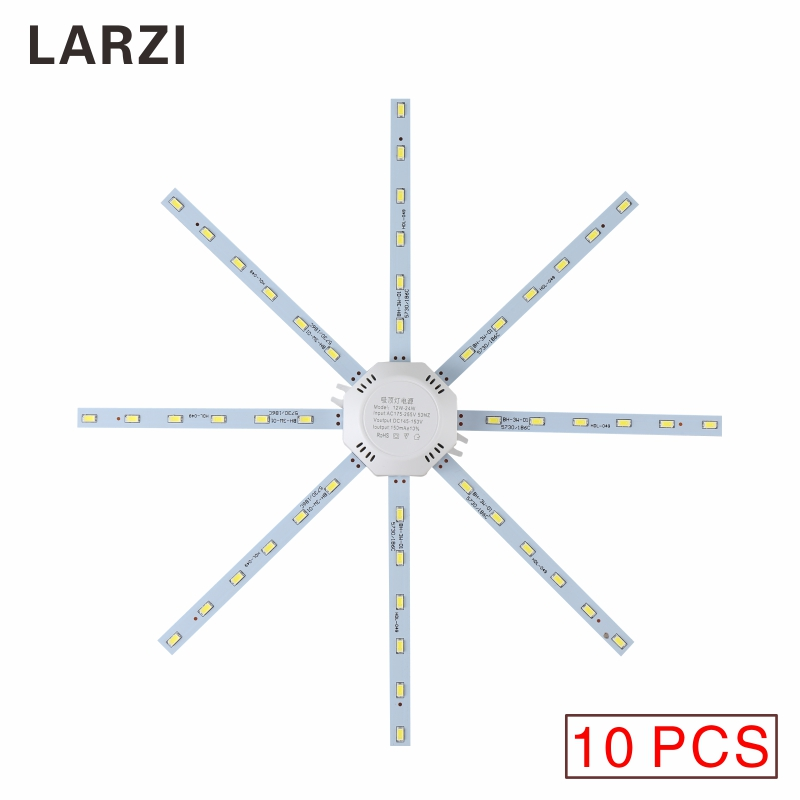 LARZI 10PCS AC 220V LED Ceiling Light 12WC`6W 20W 24W LED Bulb SMD 5730 Board Light Energy Saving Lamp PCB Board Octopus Tube