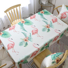 Hot European Style Pink Flamingo Green Plant Print Table Cloth Thick Rectangular Table Cover Wedding Diningroom Home Decoration flamingo print table mat