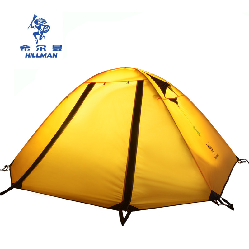 Hillman good quality 2 person double layer ultralight aluminum poles waterproof windproof camping tent hot outdoor camping double layer 2 person aluminum rod tent waterproof windproof high strength camping tent