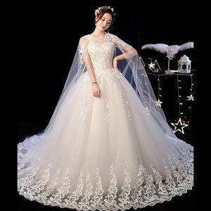 Image 3 - 2019 Nieuwe Off White O Hals Lange Trein Trouwjurk Mooie Lace Applique Illusion Lace Up Trouwjurk Vestido De noiva L