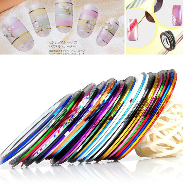 10Pcs 10 Multicolor Mixed Colors Rolls Striping Tape Line Nail Art Decoration Sticker DIY Nail Tips 14 rolls glitter scrub nail art striping tape line sticker tips diy mixed colors self adhesive decal tools manicure 1mm 2mm 3mm