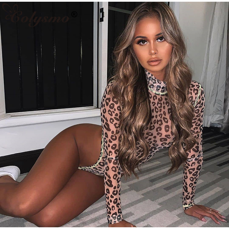Colysmo Sexy Bodysuit 2019 Long Sleeve Leopard Jumpsuit Women See Through Mesh Contrasting Colors Stripe High Cut Casual Rompers