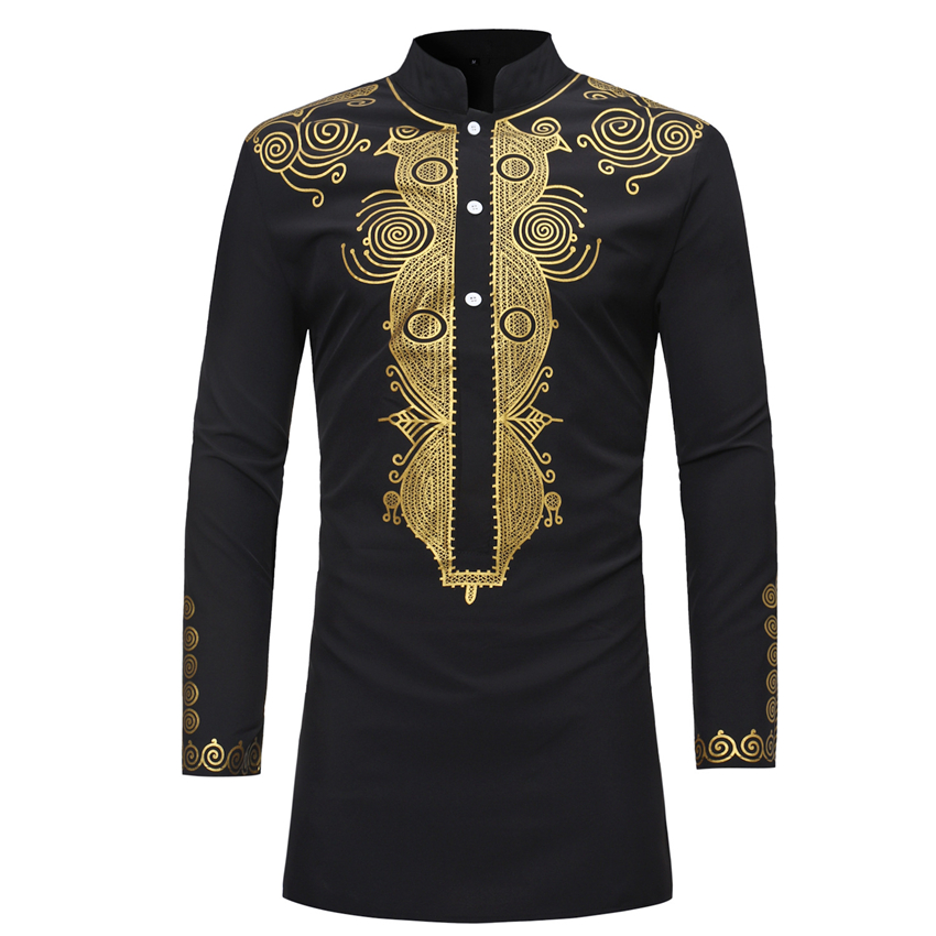 New 2019 Dashiki Fashion African Traditional Printed Rich Bazin Men Long Sleeve Africa Clothing Thobe Dress for Man Shirt