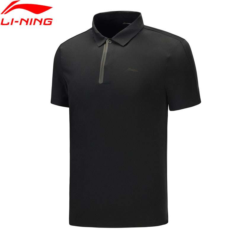 Li-Ning Men Training Short Sleeve Polo AT DRY <font><b>86</b></font>%<font><b>Polyester</b></font> <font><b>14</b></font>%<font><b>Spandex</b></font> T-shirts LiNing Sports Regular Fit Tees APLP027 MTP498 image