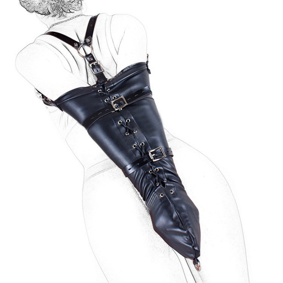 CamaTech PU Leather Over Shoulder Arm Binder Bondage Restraints Slave Lockable Glove Sleeves Handcuff Armbinder Harness Sex Toys