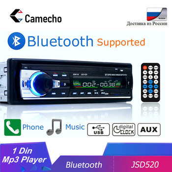 Camecho JSD-520 auto estéreo 1 din rádio do carro 12v bluetooth v2.0 fm aux entrada receptor de áudio do carro sd usb mp3 mmc wma jsd 520