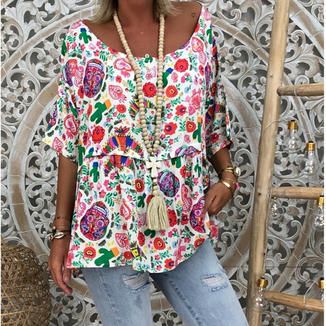 5XL Plus Size T-Shirts Women Tops Clothing Casual V Neck 3/4 Sleeve Loose T-Shirt Spring Summer Printed T-shirts Beach Oversize