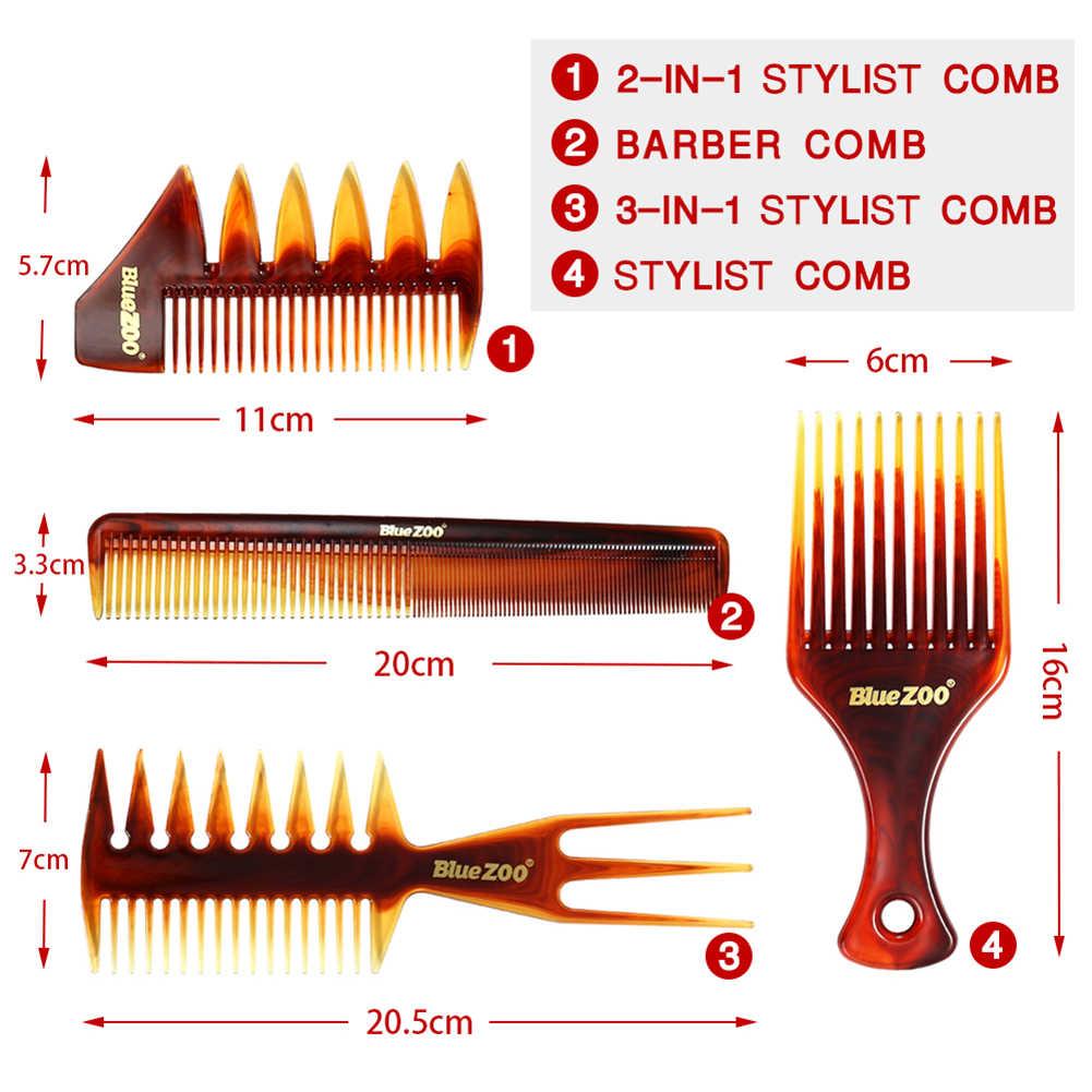 4 x grzebienie zestaw człowiek fryzjerskie grzebienie w stylu Vintage szczotki do włosów męskie grzebień Pro Salon do pielęgnacji włosów narzędzie do stylizacji włosów modelowanie