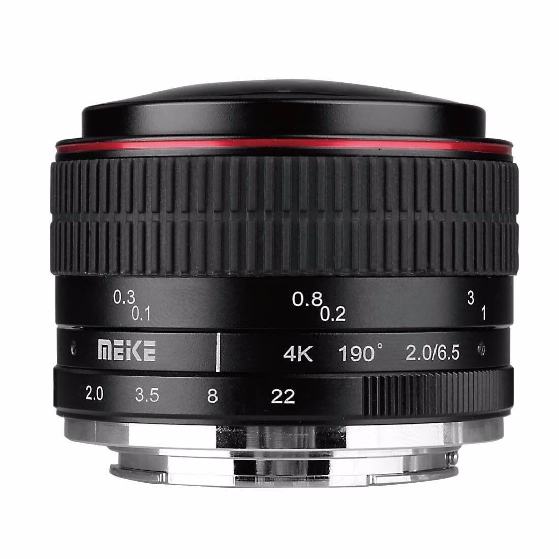 MEIKE 6.5mm F2.0 objectif Fisheye pour Canon EOS M Nikon 1 Sony E Fuji Fujifilm X Olympus Panasonic M4/3 monture appareil photo sans miroir
