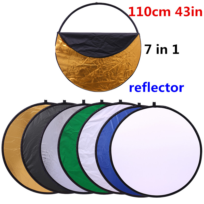 CY Free ship 43 110cm 7 in 1 Fashion so easy Portable Collapsible Light Round Photography Reflector for Studio Multi Photo Disc