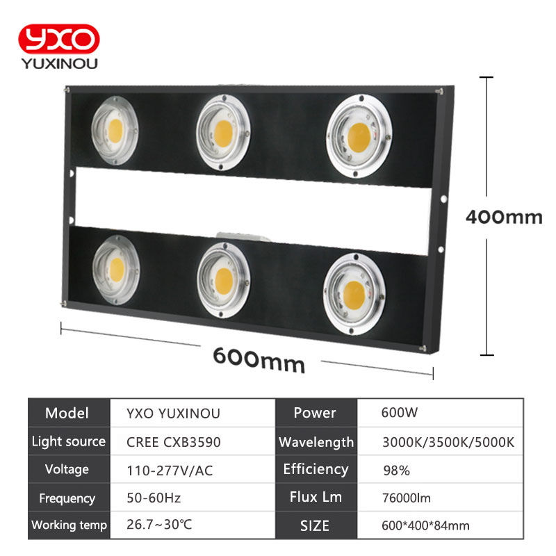 Dimmable CREE CXB3590 600W 76000LM COB LED Grow Light Full Spectrum Replace HPS 1000W Growing Lamp Indoor Plant Growth Lighting