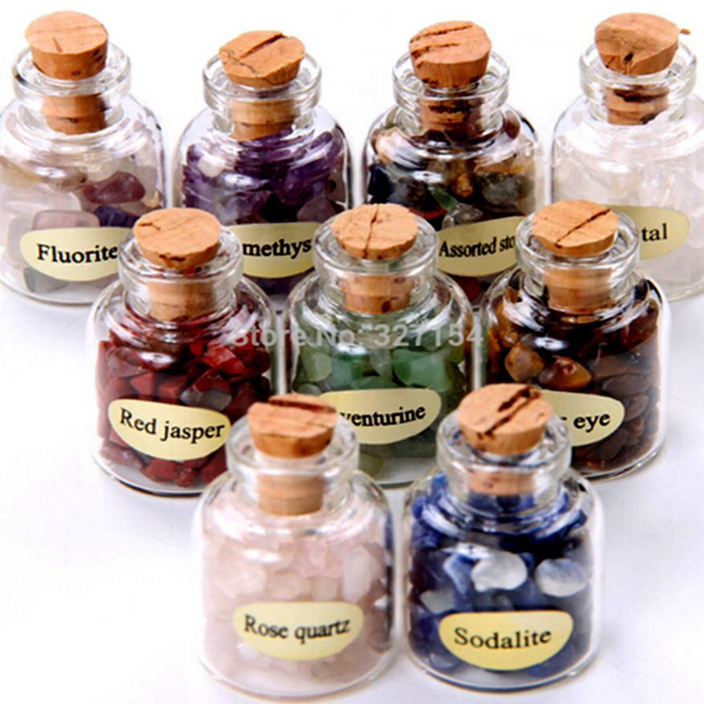 9pcs Mini Semiprecious Stones Natural Bottles Crystal Healing Tumbled Stones Reiki Wicca with Box GC000