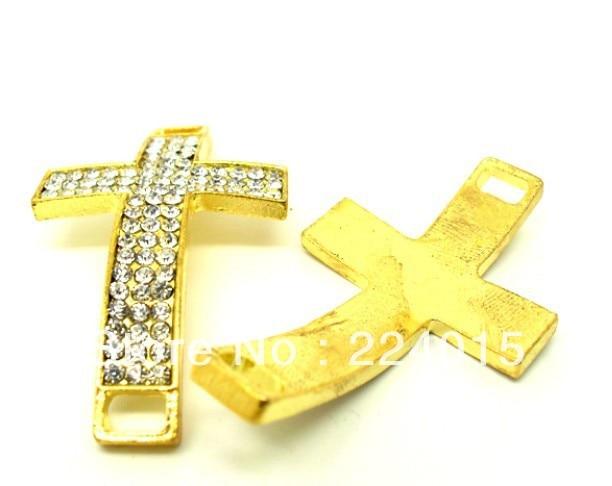 Free Shipping!5Pcs/33x57mm Wholesale Gold Pated Shamballa Pave Cross Rhinestone Crystal Metal Beads For Bracelets DIY,B1099#