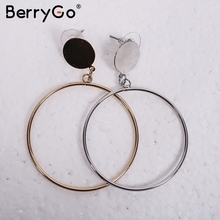 BerryGo Fashion big ring chic accessories Statement geometry gold hoop earrings jewelry 2017  vintage women sliver earrings