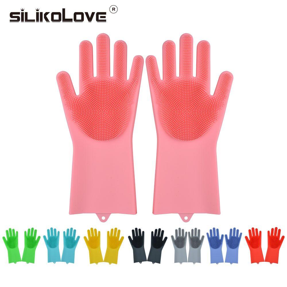 Ev ve Bahçe'ten Ev Eldivenleri'de 1 çift sihirli silikon bulaşık bulaşık eldivenleri silikon ovma eldiven mutfak banyo ev temizleme 8 renkler title=