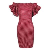 Sisjuly 2017 New Summer Woman Bodycon Dress Knee Length Cascading Ruffle Dress Dot Petal Sleeve Vintage