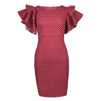 Sisjuly 2017 New Summer Woman Bodycon Dress Knee Length Cascading Ruffle Dress Dot Petal Sleeve Vintage