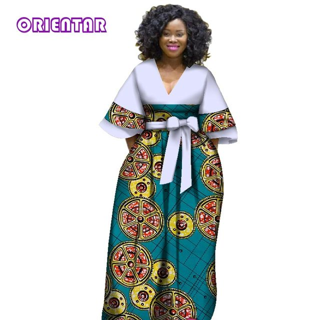 2018 New African Dresses For Women Bazin Riche Style Femme Clothes Graceful Lady Print Wax
