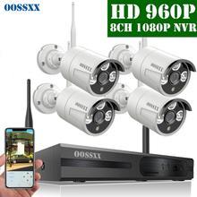 OOSSXX 8CH 1080P Wireless NVR Kit Wireless CCTV Camera System 4pcs 960P Indoor Outdoor IP Camera P2P Video Surveillance System