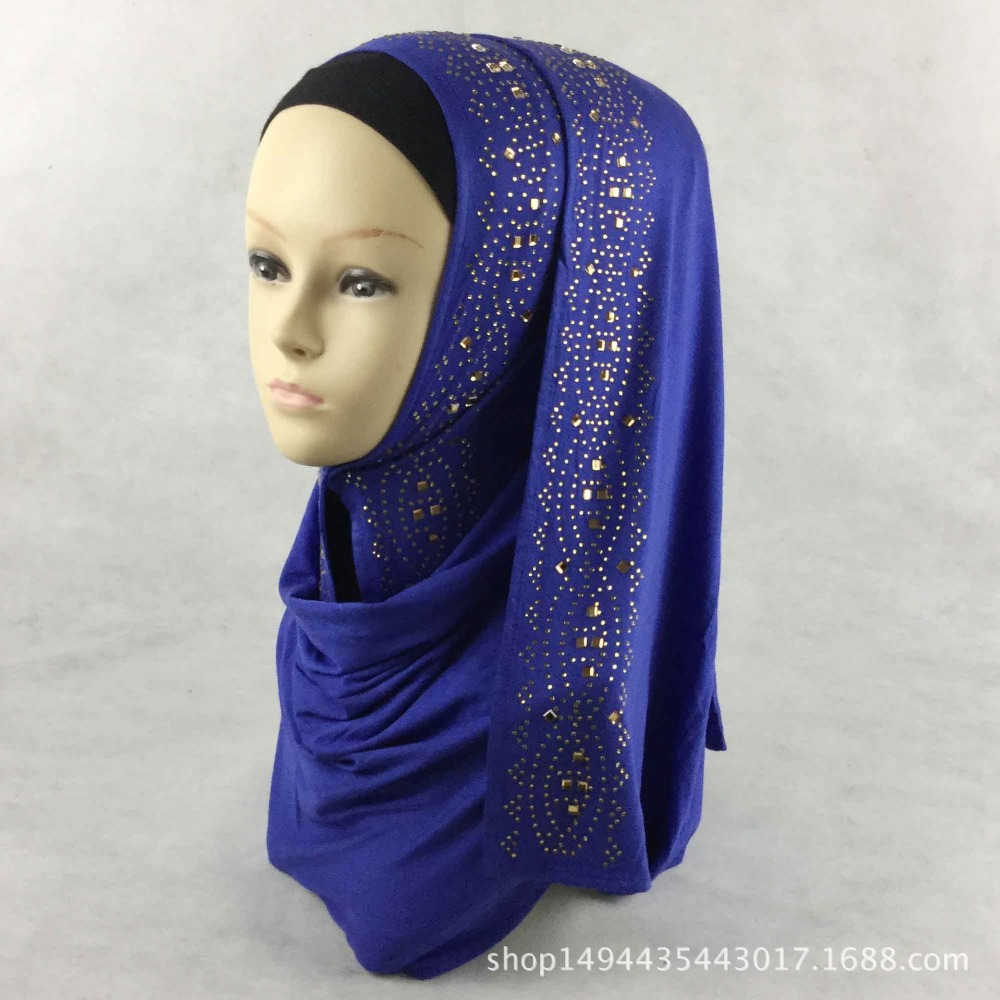 Solid Hijab Scarf With Rhinestones Muslim Long Scarf,cotton Hijab Scarf,free Shipping