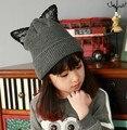 Nova marca Britânica Rihanna moda preto rendas tricô de lã chapéu de strass bonito Orecchiette sexy orelha de gato preto/Escuro graycaps
