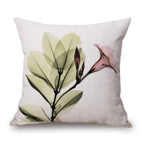 45x45cm Modern Ink Painting Flower flax Throw Pillow Case Waist Green and pink