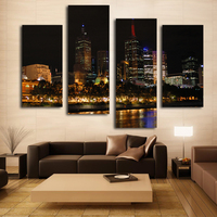 Hong Kong City Scenery Art Prints Beautiful Night Landscape Picture On Wall Canvas Art