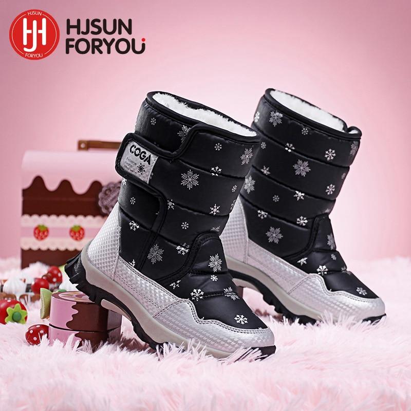 2019 Marka zimowe dziecięce buty dziewczynka i chłopiec buty wodoodporne skórzane dla dzieci śnieg buty pluszowe buty wodoodporne mody