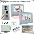 1v2 Fingerprint/Code unlock Video door phones intercom systems outdoor unit waterproof(IP65) + Electromagnetic lock