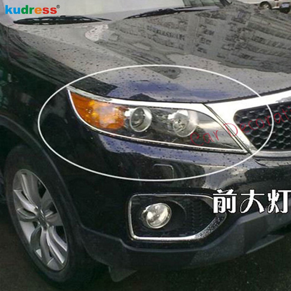 For Kia Sorento 2010 2011 ABS Chrome Car Headlight Head Light Lamp Cover Trim Decorative Accessories Front Headlight Trims 2pcs