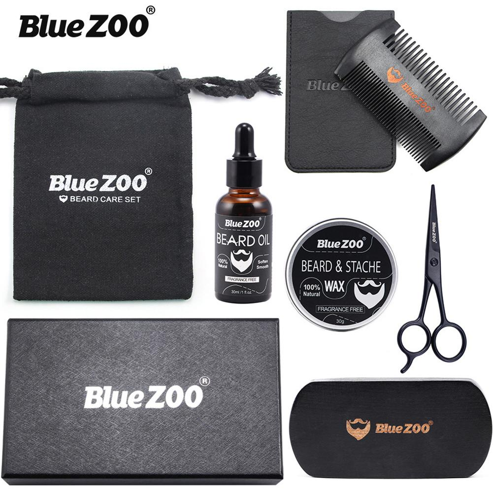 7 pcs set Portable Men Barba Beard Oil Mustache Wax Comb Face Mustache Shaving Brush Scissors Trimming Mustache Tool Set