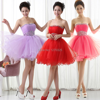Robe demoiselle d 'honneur new light purple, red, rose Red sexy strapless beaded fluffy mini being bridesmaid dresses under 50