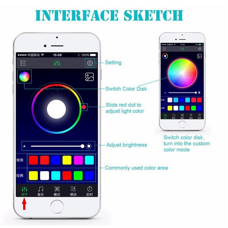 4Pcs Car Atmosphere Lamp App Remote Control RGB LED Strip Lights Fashion Auto Interior Decoration Music Rhythm Light CLH