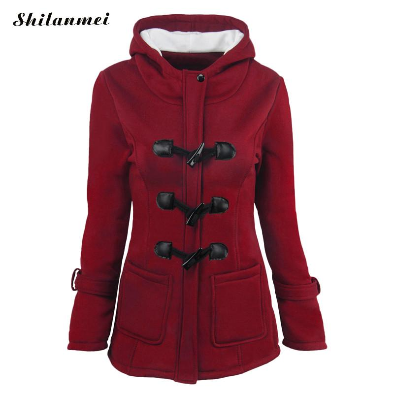 Winter Coat Women 2018 New Fashion Women Slim Hooded Collar Zipper Horn Button Long Coats Outerwear Plus Size