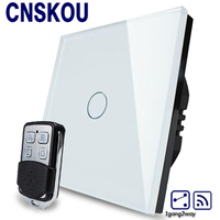 Cnskou EU Standard Switch Black Crystal Glass Switch Panel 1 Gang 2 Way AC 220 250V