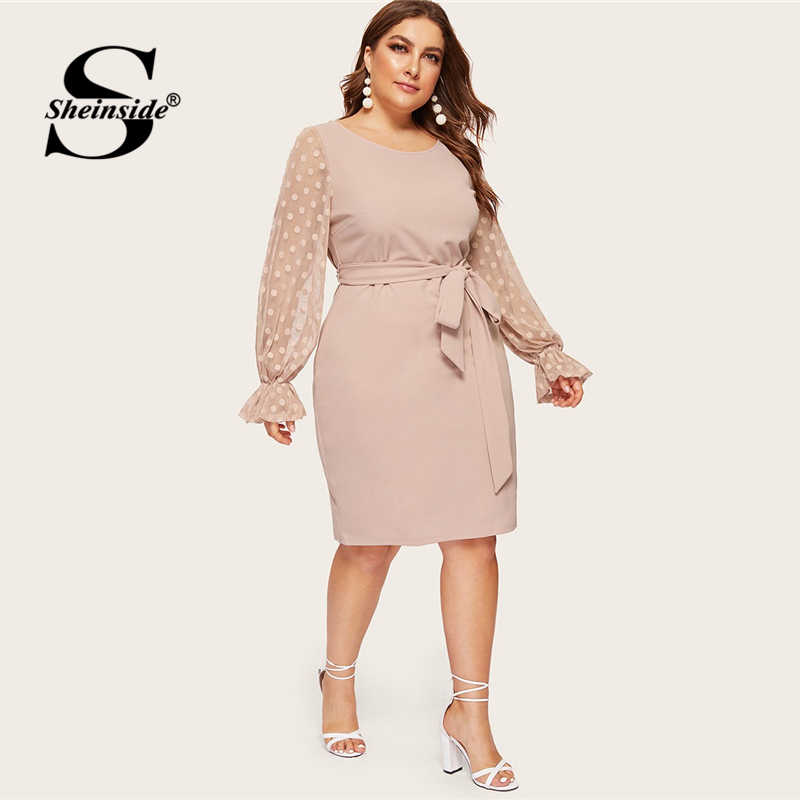 Sheinside Plus Size Dot Mesh Sleeve Midi Dress Women 2019 Spring Elegant Flounce Sleeve Dresses Ladies High Waist Belted Dress